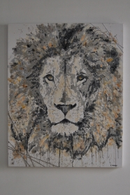 """SOLD """"Trapped Lion"""" 100 x 80 cm"""