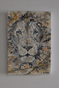 """SOLD """"Small Lion"""" 35 x 24 cm"""